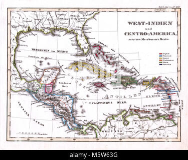 1844 Stieler Map - West Indies - Caribbean Sea - Cuba Jamaica Dominican Republic Antilles Bahamas Virgin Islands - Stock Image