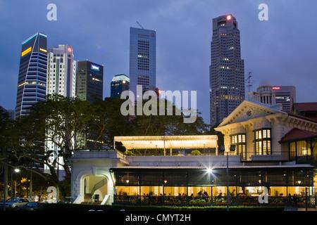 Skyline of Singapur, South East Asia, twilight - Stock Image