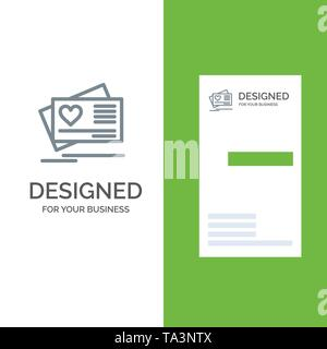 Card, Love, Heart, Wedding Grey Logo Design and Business Card Template - Stock Image