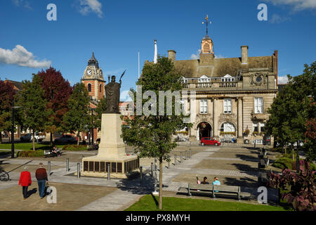 The Cheshire East Council Municipal Buildings and War Memorial on Memorial Square in Crewe town centre UK - Stock Image