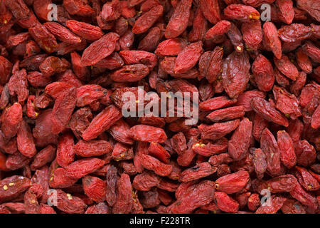 A close-up of dried goji berries. - Stock Image