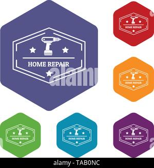 Repair home icons vector hexahedron - Stock Image