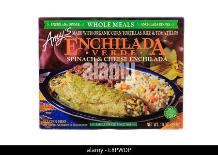 Amy's Brand Enchilada Verde Spinach & Cheese Enchilada Ready Meal prepared from frozen - Stock Image