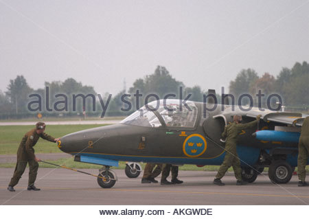 Saab Sk60A Saab 105 Rivolto Italia Air show 2005 Swedish Air Force - Stock Image