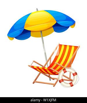 beach chair umbrella summer relax floater illustration - Stock Image