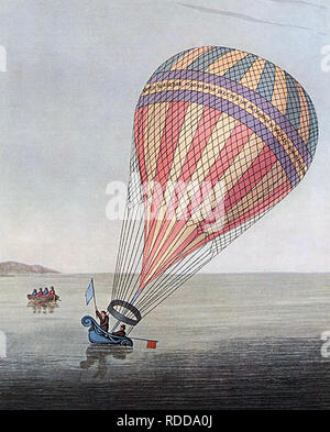 JAMES SADLER (1753-1828) English balloonist and pastry chef  with passenger William Clayfield making a safe landing near Combe Martin in the Bristol Channel In September 1810 - Stock Image