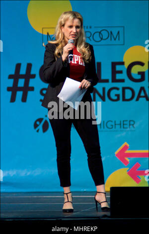 Philadelphia, USA. 2nd May 2018; Melissa Maxfield, Senior Vice President, Federal Government Affairs on stage as Michelle Obama is joined by students, stars, performing artists and athletes for the fifth  annual College Signing Day, hosted by Reach Higher, at Temple University's Liacouras Center in North Philadelphia, on May 2, 2018. The Former First Lady is joined by 7.000 students and (on stage) stars, performing artists and athletes including Bradley Cooper, Rebel Wilson, Zendaya, Robert De Niro, Camila Cabello, Questlove, Anthony Mackie and Janelle Monae. Credit: Bastiaan Slabbers/Alamy Li - Stock Image