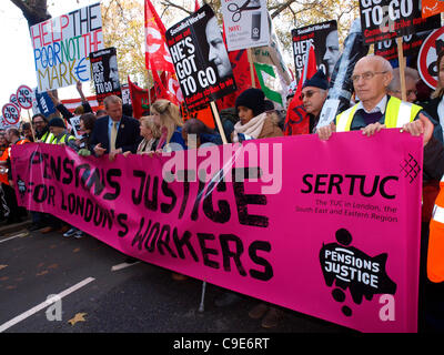 London, UK, 30/11/2011. Union leaders and public sector workers march at the main demonstration in London against - Stock Image