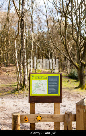Information board displaying details about mountain biking on Bosley cloud near congleton in Cheshire England UK - Stock Image