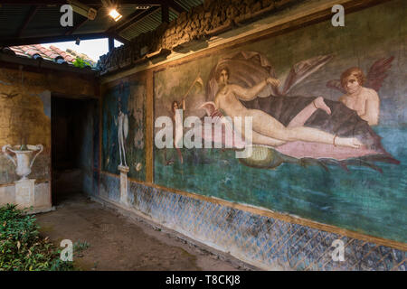 Fresco in House of Venus in the shell, Pompeii, Italy - Stock Image