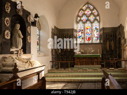 Altar and sanctuary monument inside church of Saint Andrew, Bramfield, Suffolk, England, UK - Stock Image