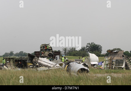 Broken down piece of unserviceable aircraft meant for recycling into aluminium and other rare metals at the Lagos - Stock Image