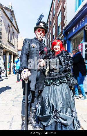 Whitby Goth Weekend 2019, Whitby Goths, Whitby Goth, goth, goths, gothic costume, Whitby, Yorkshire, UK, Goth characters, goth costume, Goth, Goths, - Stock Image