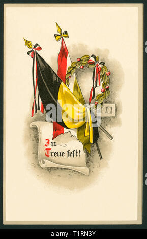 Germany, Hamburg, WW I, military mail postcard with flags and the text ' In Treue fest '  (In loyalty), sent 03. 04. 1916. , Additional-Rights-Clearance-Info-Not-Available - Stock Image