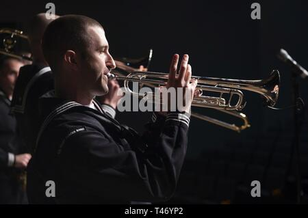 CHARLESTON, S.C. (March 13, 2019) Musician 2nd Class Kiel Senninger, a member of the United States Fleet Forces - Stock Image