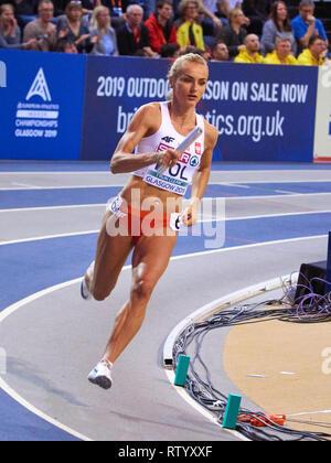 Glasgow, UK: 3rd March 2019: Polish relay women team wins gold in 4x400m on European Athletics Indoor Championships 2019.Credit: Pawel Pietraszewski/ Alamy News - Stock Image