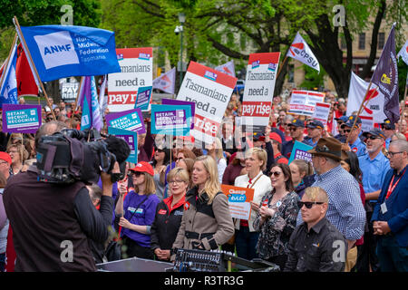 Public servants, teachers and health workers in Hobart Tasmania protesting outside Parliament demanding wage increases. - Stock Image