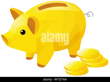 golden piggy savings  coins  finance safe  illustration  treasure - Stock Image