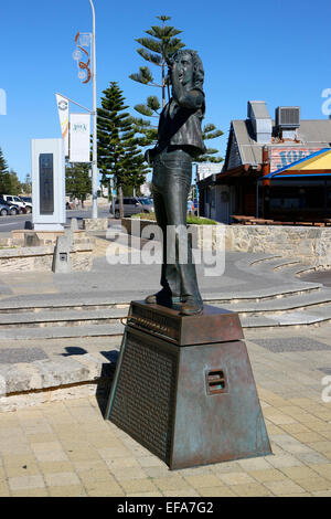 Statue of Bon Scott in Fremantle, Perth. Western Australia. Original lead singer for Australian rock n' roll - Stock Image