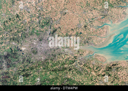 London England as seen from space - Stock Image