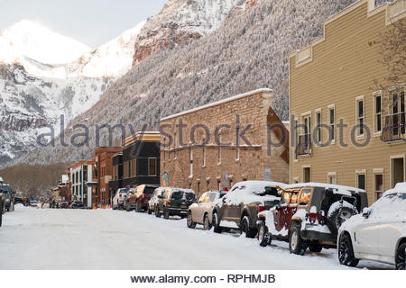 West Pacific Avenue, Telluride, San Miguel County, Colorado, USA - Stock Image
