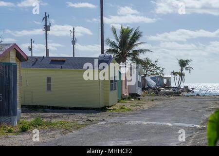 Trailer Park Storm Damage, Florida Keys, USA - Stock Image