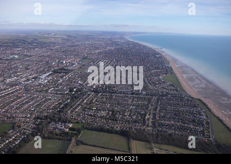 An aerial view of the West Sussex coastal town of Worthing - Stock Image