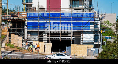 Gosford, New South Wales, Australia - May 18. 2018: Construction and building progress update ?.  on new home units building site at 47 Beane St. - Stock Image