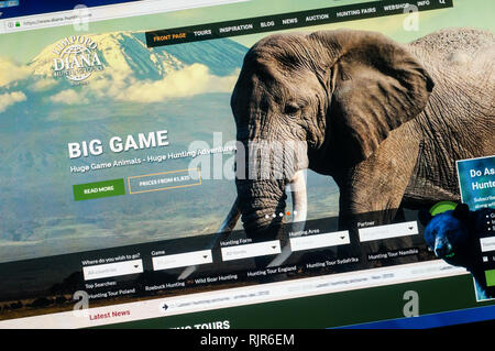 Home page of the website of Diana Hunting Tours promoting their big game hunting tours. - Stock Image