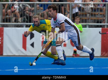 Krefeld, Germany, June 16 2019, hockey, men, FIH Pro League, Germany vs. Australia:  Jake Harvie (Australia, L) and Timm Herzbruch (Germany) compete. - Stock Image