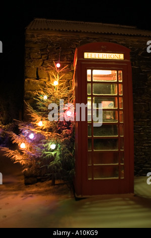 Christmass tree with light next to a red telephone box in a village in the Peak District National Park Derbyshire - Stock Image