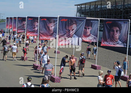F1 Drivers on flags, Silverstone Formula One Racing Circuit, British Grand Prix 2018, England, UK - Stock Image