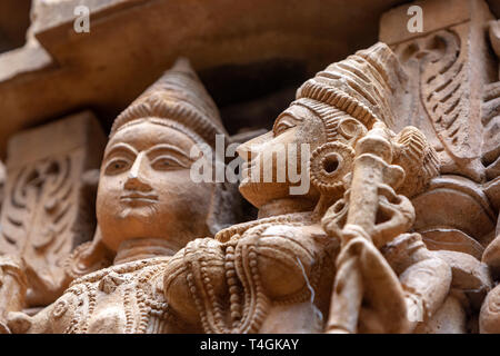 Carved stone figures in Chandraprabhu Jain Temple  jaisalmer, Rajasthan, India - Stock Image