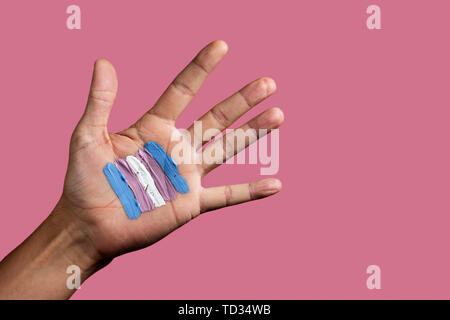 closeup of the palm of the hand of a young caucasian person with a transgender flag painted in it, against a pink background with some blank space - Stock Image
