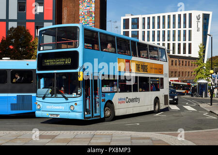 A National Express Coventry double decker bus on Trinity Street in Coventry city centre UK - Stock Image