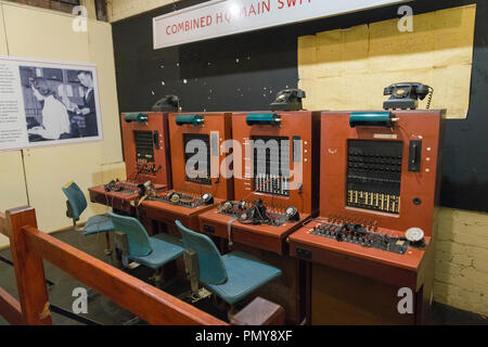 Liverpool Exchange Flags Western Approaches HQ WWII Second World War Derby House museum bunker Citadel Fortress Citadel Fortress phone switchboard - Stock Image