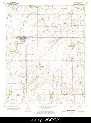 USGS TOPO Map Kansas KS Norwich 512133 1971 24000 Restoration - Stock Image