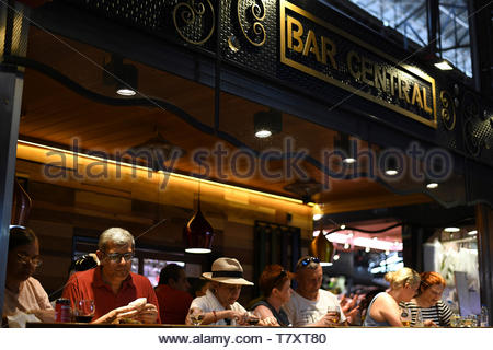 La Boqueria Market on La Rambla in Barcelona in Catalunya in Spain in Europe - Stock Image