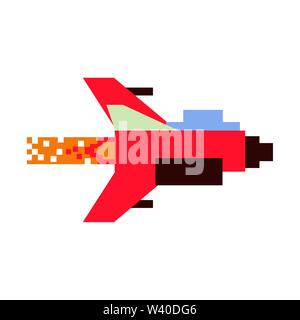 Videogame pixelated spaceship taking off - Stock Image