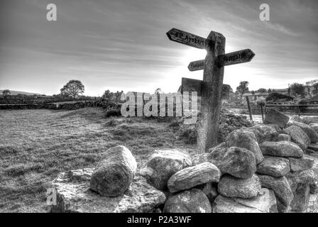 Yorkshire Dales way signs, Yorkshire Dales direction sign, Yorkshire Dales directions, Yorkshire Dales hiking signs, Yorkshire Dales walks, B&W, UK - Stock Image