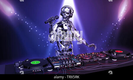 DJ Robot, disc jockey cyborg with microphone playing music on turntables, android on stage with deejay audio equipment, close up view, 3D rendering - Stock Image
