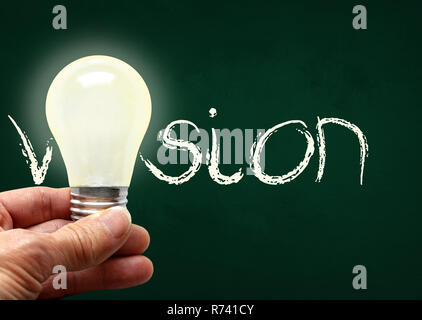 Man holding illuminated bulb with bare hands against chalkboard with the word Vision. Concept of bright idea, innovation, imagination, inspiration, vi - Stock Image