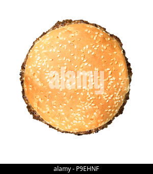 An overhead shot of of a burger - Stock Image