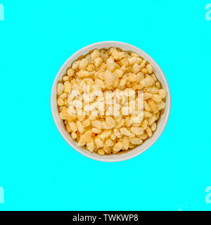 Bowl of Rice Krispies Breakfast Cereals From Above Isolated With No People - Stock Image
