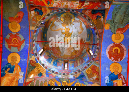 Russia, Golden Ring, Goritsy; A mural done according to tradition in tempera on the church walls of the Ipatiev - Stock Image
