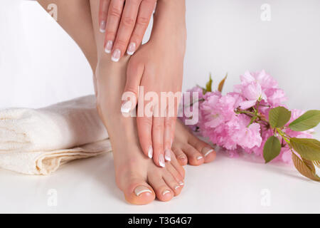 Young female legs with bare feet and hands with french manicure and pedicure on white towel in spa salon and pink flower in background. Nails polish - Stock Image