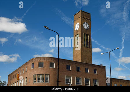 The Big Bill clock tower and building on Queensway in Crewe town centre UK - Stock Image