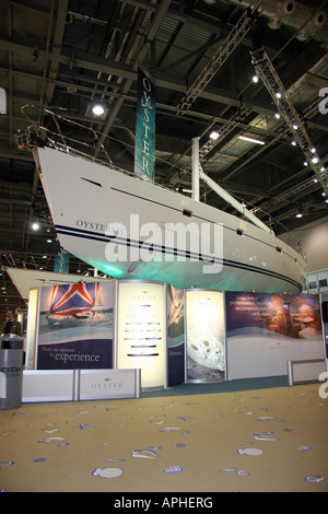 display stand for the Oyster 633, large saling yatch at the london boat show - Stock Image