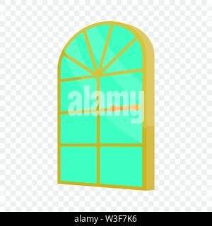 Arched glass door icon, cartoon style - Stock Image