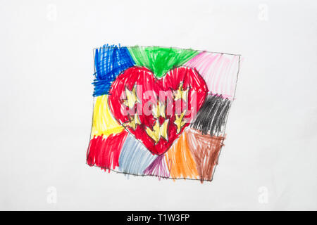 Colorful kid's drawing of colorful heart. - Stock Image